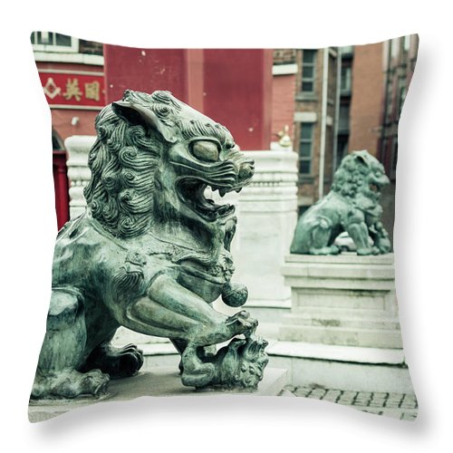 6x4 Throw Pillow featuring the photograph Liverpool Chinatown - Chinese Lion D by Jacek Wojnarowski