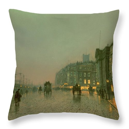 Liverpool Docks From Wapping Throw Pillow featuring the painting Liverpool Docks From Wapping by John Atkinson Grimshaw
