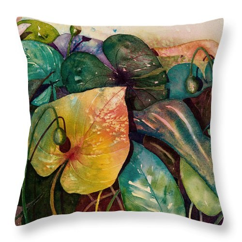 Leaves Throw Pillow featuring the painting Living Color by Renee Chastant