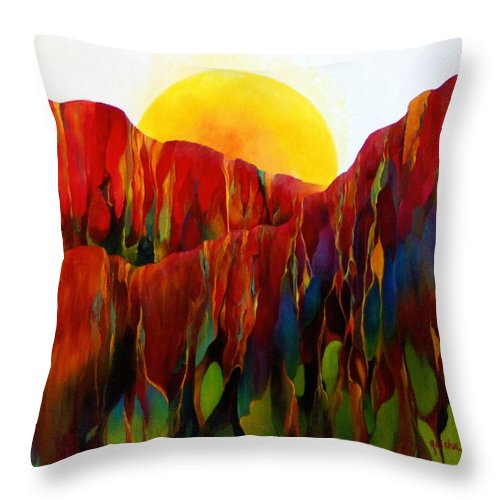 Oil Throw Pillow featuring the painting Living Earth by Peggy Guichu