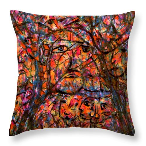 Forest Throw Pillow featuring the painting Living Forest by Natalie Holland