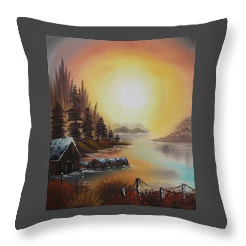 Lake Throw Pillow featuring the painting Living On A Lake by Nadine Westerveld