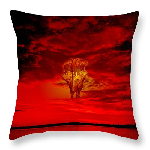 Skull Sky Red Dawn Buffalo Clouds Cloudy Nature Bison Water Skyline Waterscape Throw Pillow featuring the photograph Living Sky by Andrea Lawrence