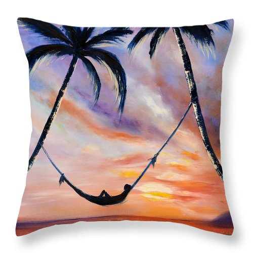 Sunset Throw Pillow featuring the painting Living The Dream by Gina De Gorna