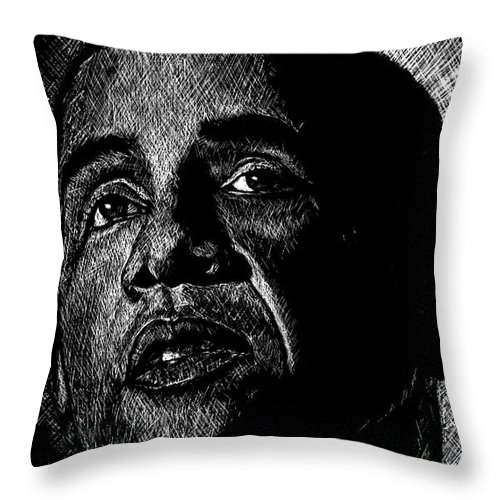 Barack Obama Throw Pillow featuring the drawing Living The Dream by Maria Arango