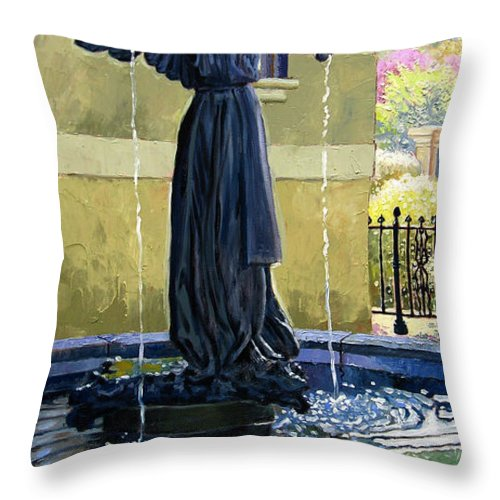 Garden Fountain Throw Pillow featuring the painting Living Waters by John Lautermilch