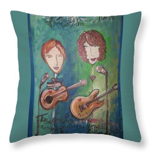 Liz Clark Throw Pillow featuring the painting Liz Clark by Laurie Maves ART
