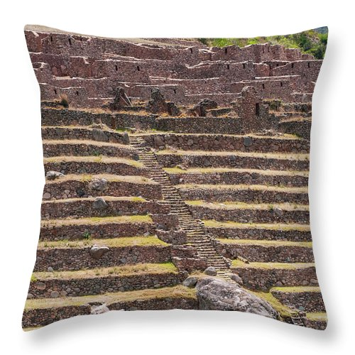 Llactapata Site Throw Pillow featuring the photograph Llactapata Site Steps by Bob Phillips