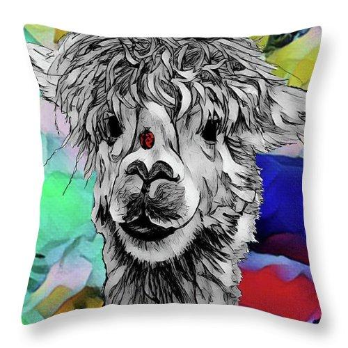 Llama Throw Pillow featuring the digital art Llama And Lady In Splash by Lisa Pfeiffer