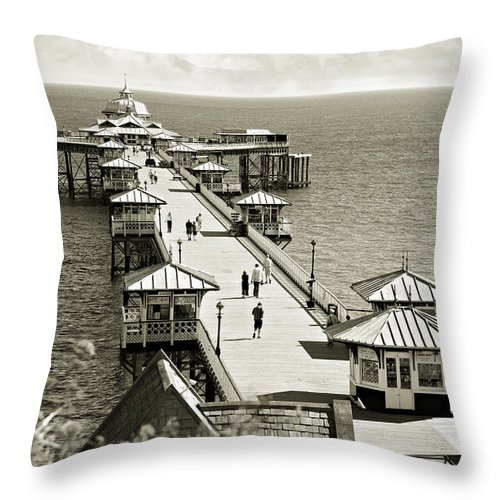 Pier Throw Pillow featuring the photograph Llandudno Pier North Wales Uk by Mal Bray