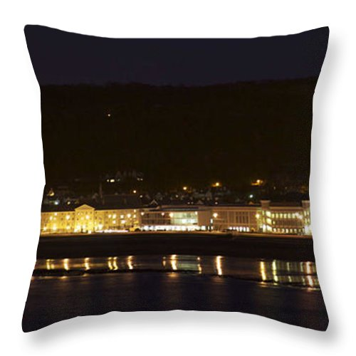 Promenades Throw Pillow featuring the photograph Llandudno Promenade At Night. by Christopher Rowlands