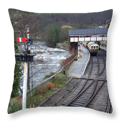 Trains Throw Pillow featuring the photograph Llangollen Train Station by Christopher Rowlands