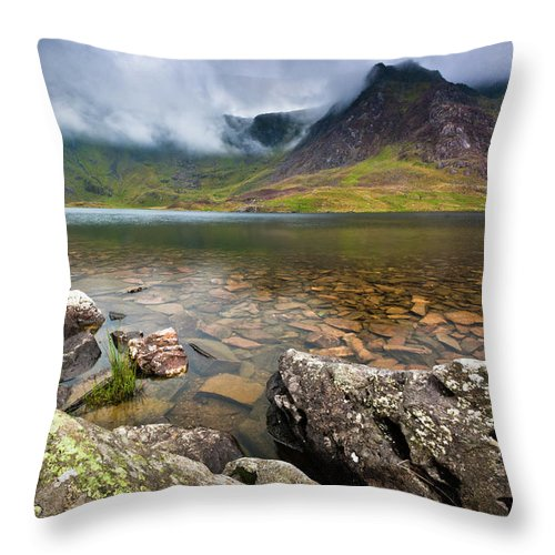 Throw Pillow featuring the photograph Llyn Idwal #1, Cwm Idwal, Snowdonia, North Wales by Anthony Lawlor