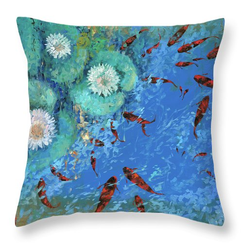 Fishscape Throw Pillow featuring the painting Lo Stagno by Guido Borelli