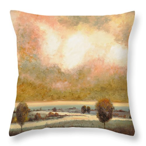 Pond Throw Pillow featuring the painting Lo Stagno Sotto Al Cielo by Guido Borelli