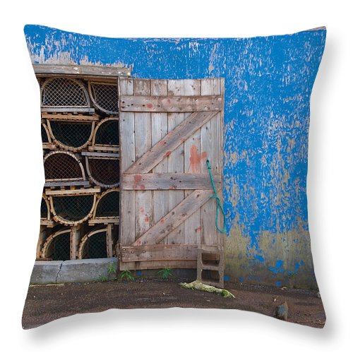 Lobster Trap Throw Pillow featuring the photograph Lobster Trap Storage-2 by Steve Somerville