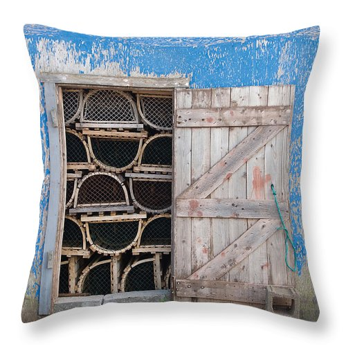 Lobster Throw Pillow featuring the photograph Lobster Trap Storage-3 by Steve Somerville