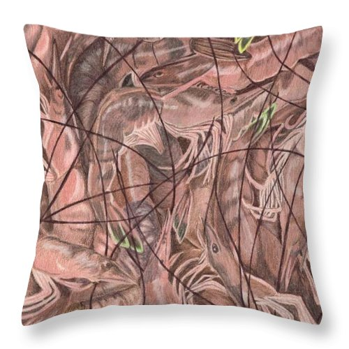 Shrimp Throw Pillow featuring the painting Local Flavor by Anita Putman