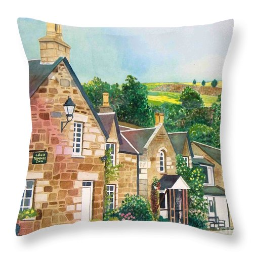 Landscape Throw Pillow featuring the painting Loch Tummel Innn - Scotland by LeAnne Sowa