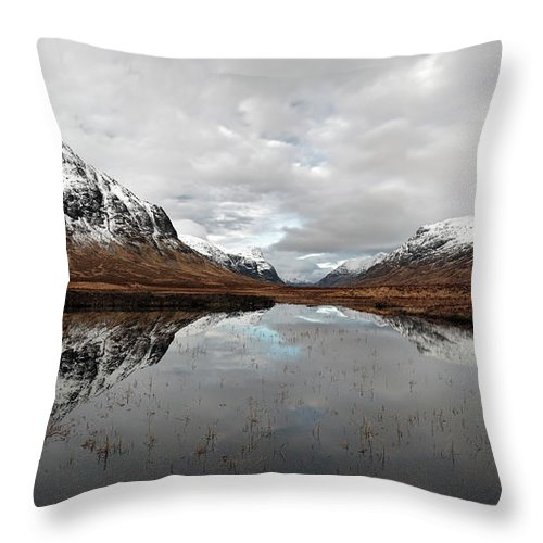 Lochan Na Fola Panorama Throw Pillow featuring the photograph Lochan Na Fola Panorama by Grant Glendinning