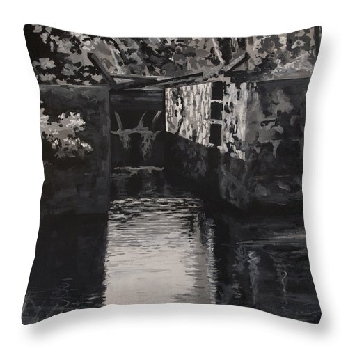 Realism Throw Pillow featuring the painting Lock 17 by Don Perino