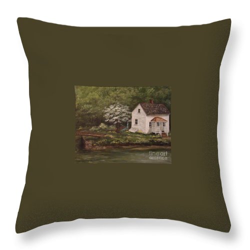 Lock Throw Pillow featuring the painting Lock 8 by Leea Baltes