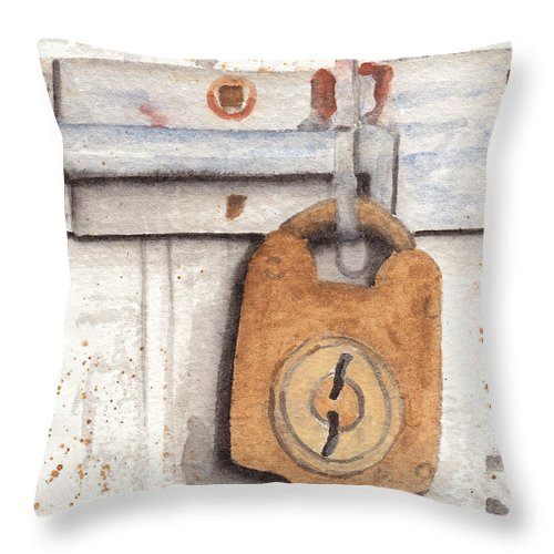Rust Throw Pillow featuring the painting Lock And Latch by Ken Powers