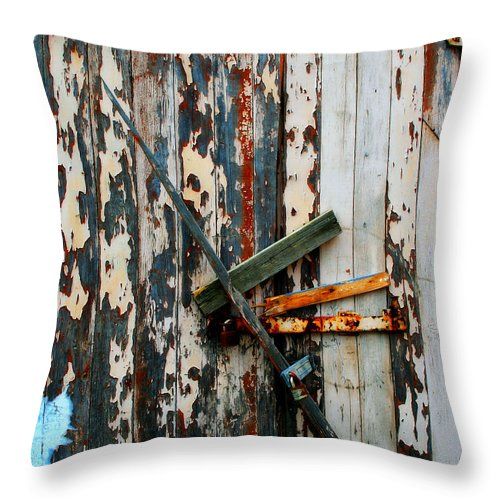 Door Throw Pillow featuring the photograph Locked Door by Perry Webster