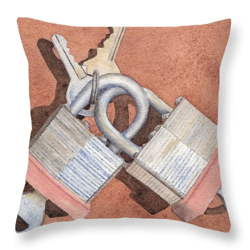 Lock Throw Pillow featuring the painting Locked In An Embrace by Ken Powers