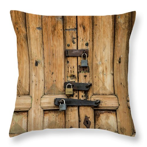 Buildings Throw Pillow featuring the photograph Locked by Kathy McClure