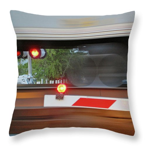 Train Throw Pillow featuring the digital art Locomotion by DigiArt Diaries by Vicky B Fuller