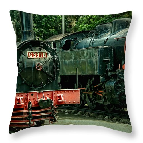 Locomotive Throw Pillow featuring the photograph Locomotive by Charuhas Images