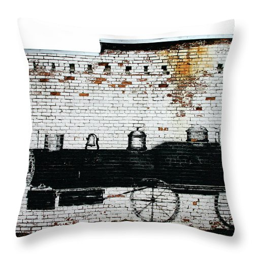 Train On A Brick Wall Throw Pillow featuring the photograph Locomotive by Wendy Raatz Photography