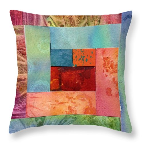 Abstract Throw Pillow featuring the painting Log Cabin 1003 by Katherine Berlin