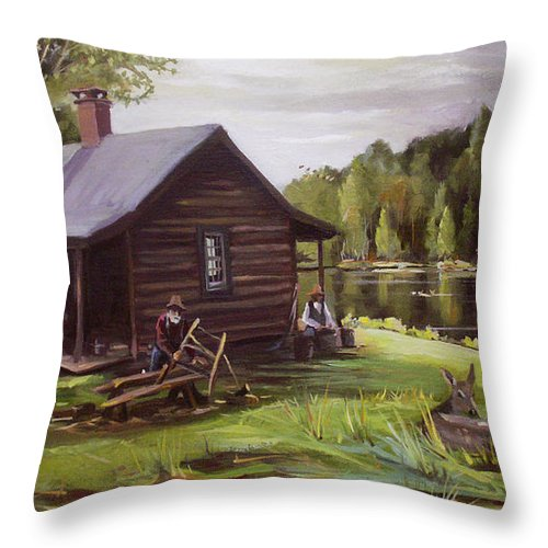 Log Cabin Throw Pillow featuring the painting Log Cabin By The Lake by Nancy Griswold
