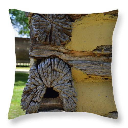 Log Throw Pillow featuring the photograph Log Cabin Detail by Lew Davis