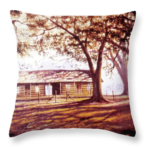 Log House Throw Pillow featuring the painting Log House On 421 by Randy Welborn
