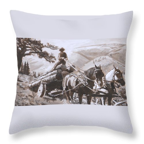 Historical Throw Pillow featuring the painting Log Wagon Historical Vignette by Dawn Senior-Trask