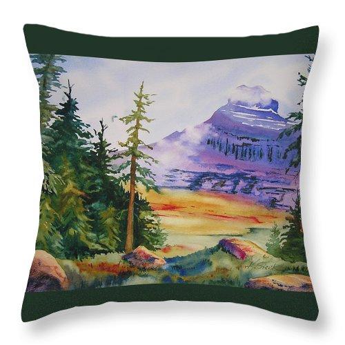 Landscape Throw Pillow featuring the painting Logan Pass by Karen Stark