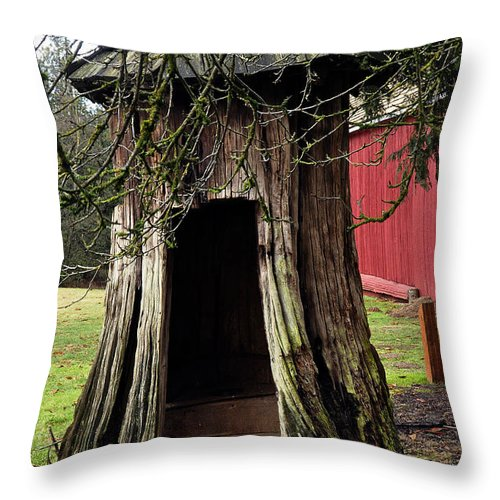Clay Throw Pillow featuring the photograph Loggers Outhouse by Clayton Bruster