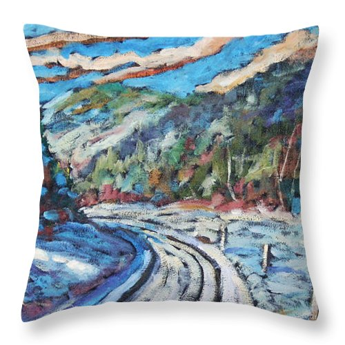 Loggers Throw Pillow featuring the painting Loggers Road by Richard T Pranke