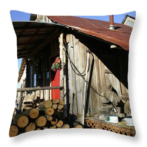 Cabin Throw Pillow featuring the photograph Logs For Winter by Nina Fosdick
