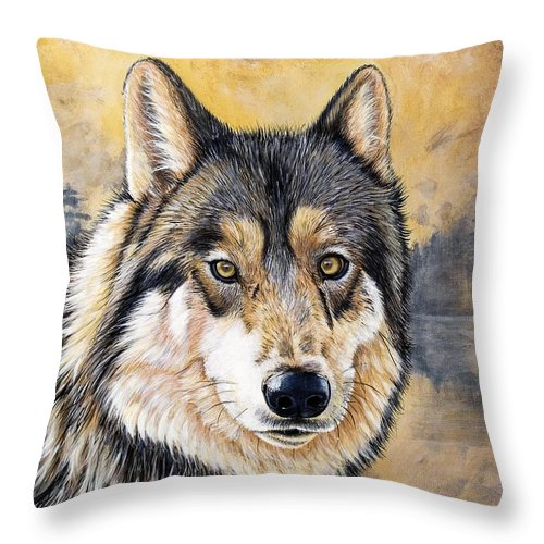 Acrylics Throw Pillow featuring the painting Loki by Sandi Baker