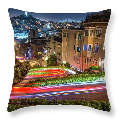 Lombard Street Throw Pillow featuring the photograph Lombard Street by Michael Tidwell
