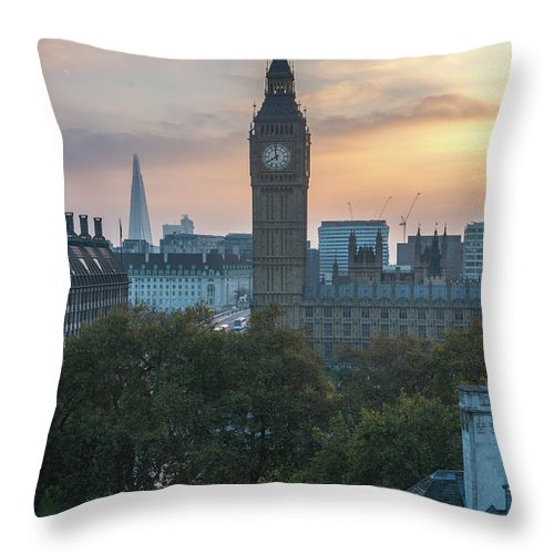 Sunrise Throw Pillow featuring the photograph London Big Ben And The Shard Sunrise by Mike Reid