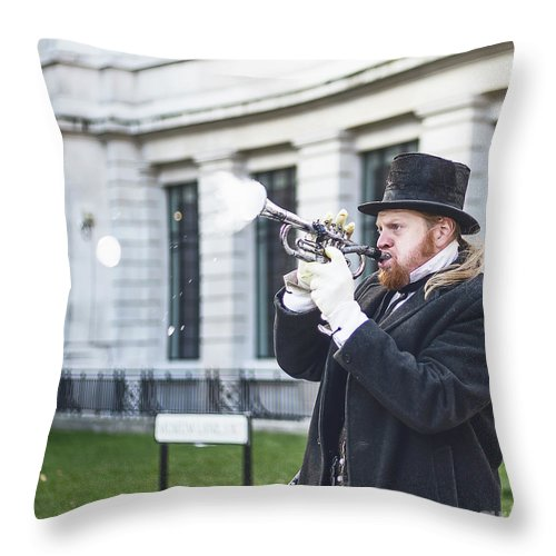 Big Ben Throw Pillow featuring the photograph London Bubbles 5 by Alex Art and Photo