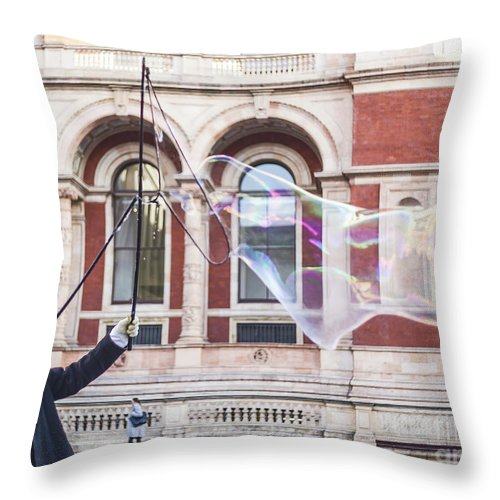 Street Artist Throw Pillow featuring the photograph London Bubbles 9 by Alex Art and Photo