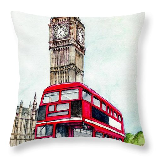 London Throw Pillow featuring the painting London Bus And Big Ben by Morgan Fitzsimons