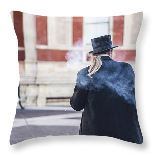 Street Artist Throw Pillow featuring the photograph London Explosion by Alex Art and Photo
