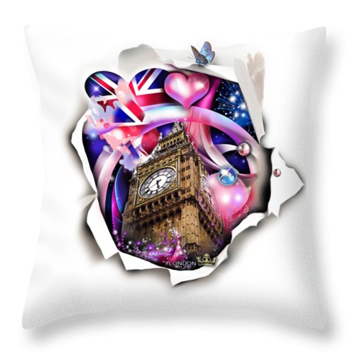 Digital Design ''london'' Throw Pillow featuring the digital art ''London'' by Ginte Miles